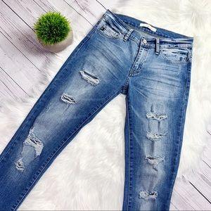 KanCan Distressed Low Rise Skinny Jeans Sz 27